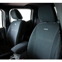 Wetseat Seat Covers to suit Ford Ranger PX1 | Front Row | BLACK  Base/WHITE Stitching