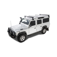 Rhino HD Black 2 Bar Roof Rack for LAND ROVER Defender 110 / 130 (Incl. HCPU) 4dr 4WD Crew Cab 3/93 On